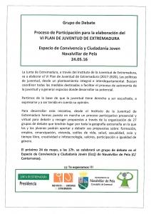 GRUPO DE DEBATE-VI PLAN DE JUVENTUD EXTREMADURA