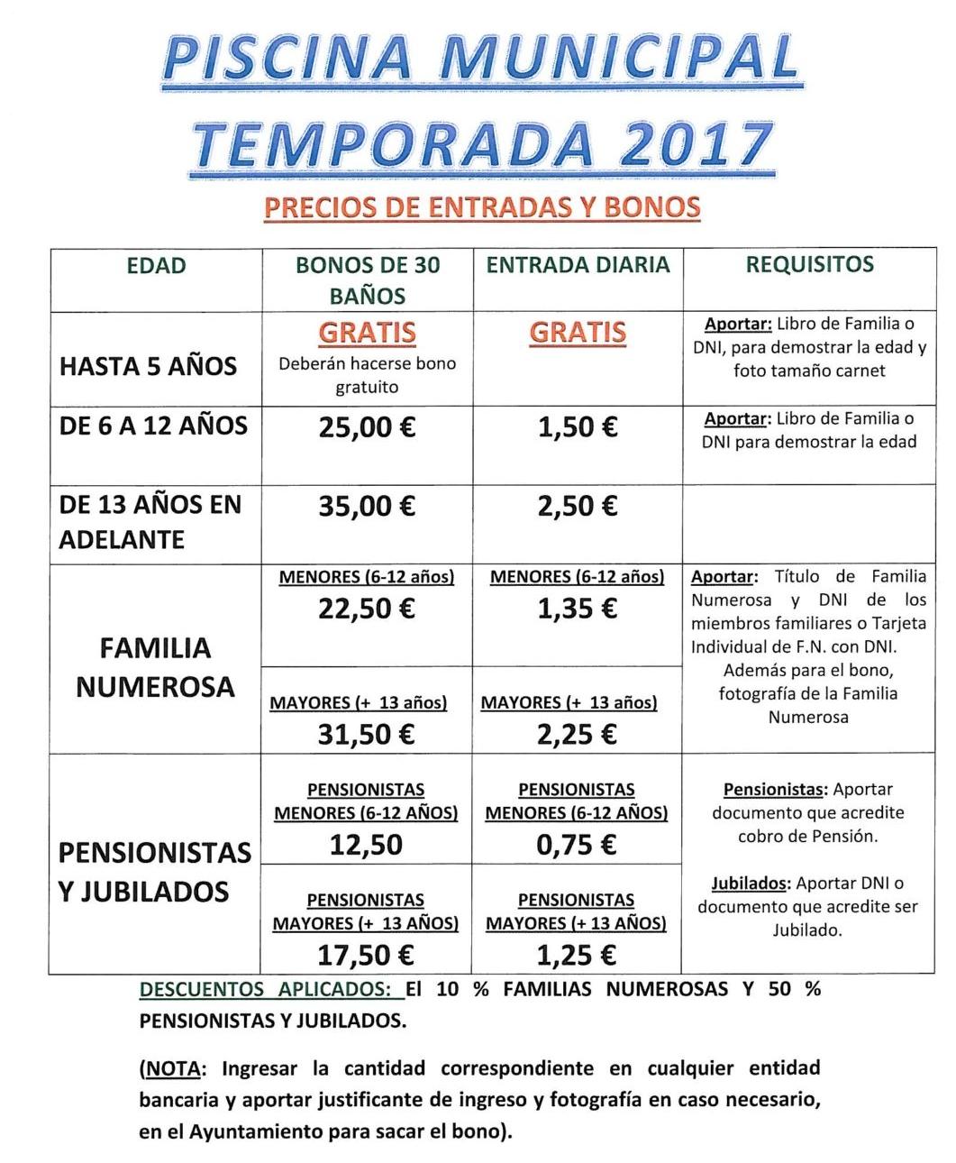 Excmo ayuntamiento de navalvillar de pela precios de for Precio piscina municipal madrid 2017