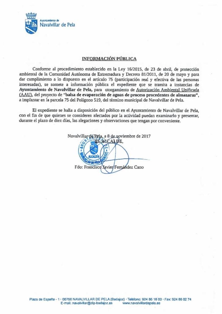 17-11-15-Otorgamiento de Autorizacion Ambiental Unificada del Proyecto Balsa de evaporacion de Aguas de Proceso Procedentes de Almazaras