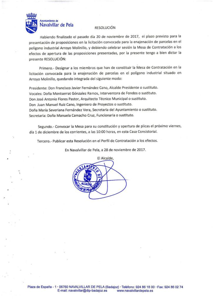 171129-RESOLUCION ALCALDIA MESA CONTRATACION ENAJENACION PARCELAS ARROYO MOLINILLO