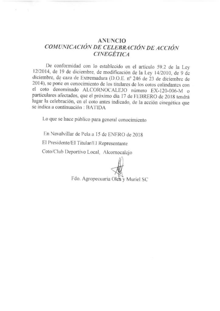18-01-22-ANUNCIO DE CELEBRACION DE ACCION CINEGETICA