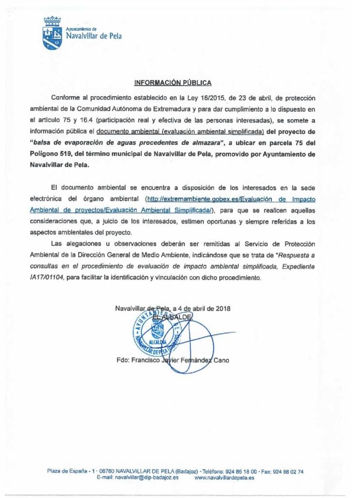 180405-ANUNCIO EVALUACION AMBIENTAL SIMPLIFICADA-BALSA EVAPORACION AGUAS PROCEDENTE DE ALMAZARAS